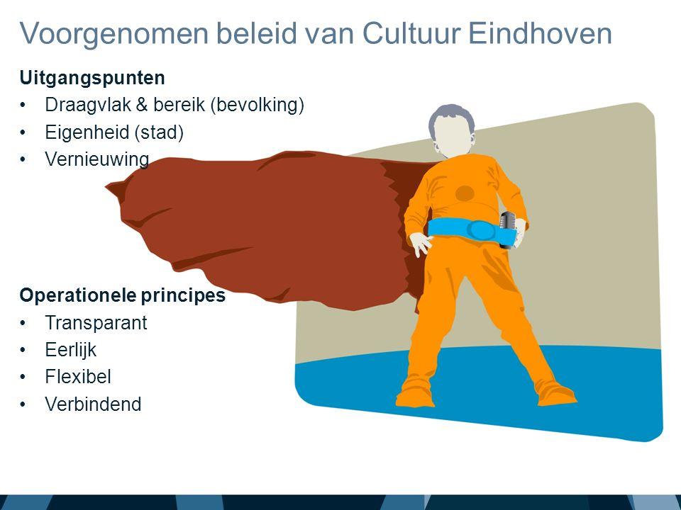 Uitgangspunten Draagvlak & bereik (bevolking) Eigenheid (stad) Vernieuwing Operationele principes Transparant Eerlijk Flexibel Verbindend Voorgenomen beleid van Cultuur Eindhoven