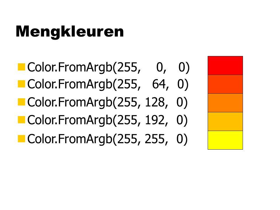 Mengkleuren nColor.FromArgb(255, 0, 0) nColor.FromArgb(255, 255, 0) nColor.FromArgb(255, 64, 0) nColor.FromArgb(255, 128, 0) nColor.FromArgb(255, 192,