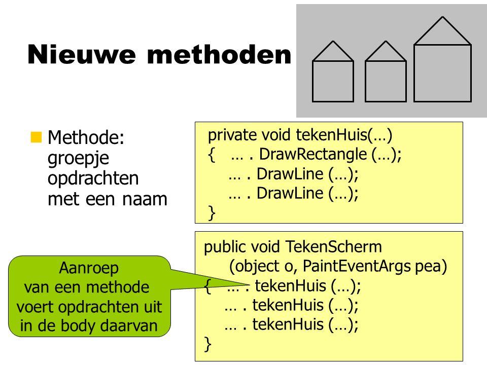 Nieuwe methoden nMethode: groepje opdrachten met een naam Aanroep van een methode voert opdrachten uit in de body daarvan private void tekenHuis(…) {