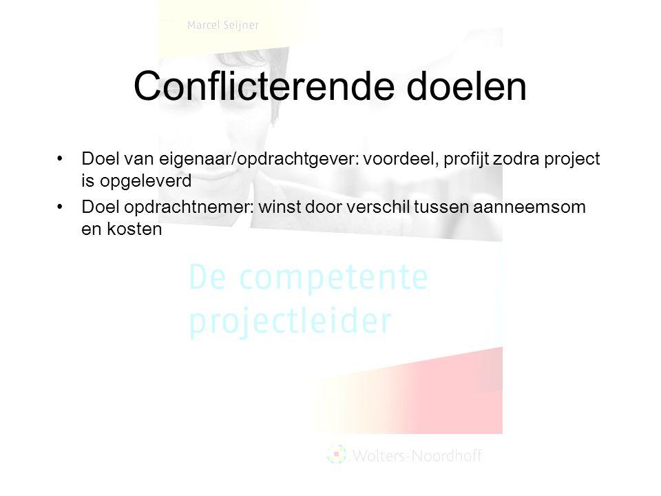 Conflicterende doelen Doel van eigenaar/opdrachtgever: voordeel, profijt zodra project is opgeleverd Doel opdrachtnemer: winst door verschil tussen aa