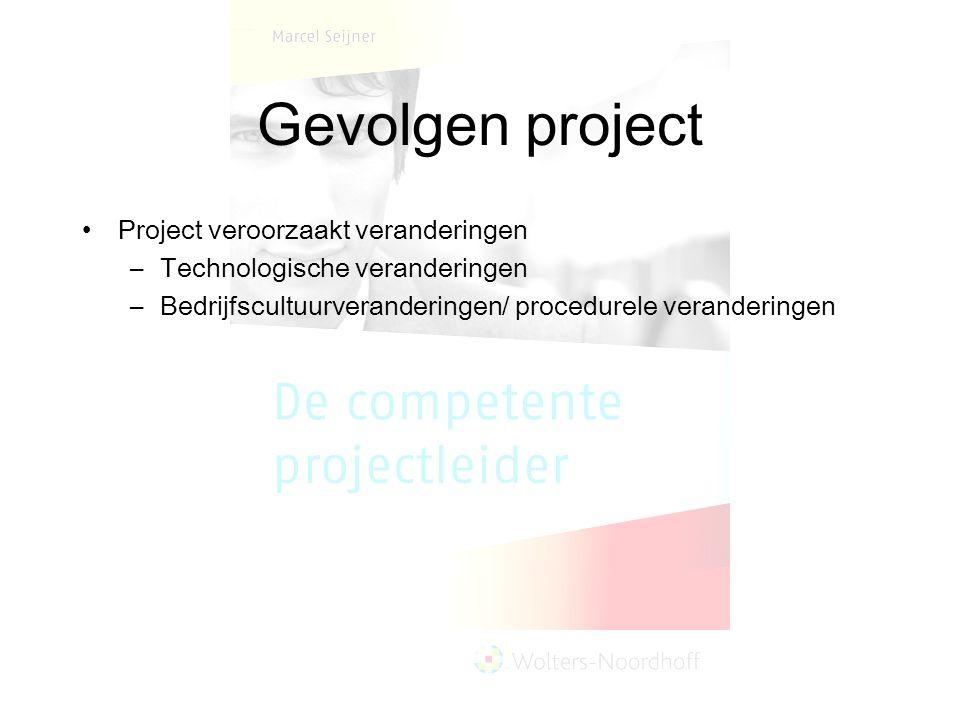 Gevolgen project Project veroorzaakt veranderingen –Technologische veranderingen –Bedrijfscultuurveranderingen/ procedurele veranderingen