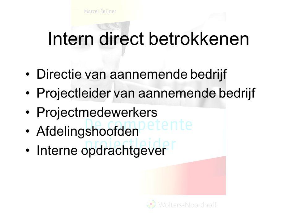 Intern direct betrokkenen Directie van aannemende bedrijf Projectleider van aannemende bedrijf Projectmedewerkers Afdelingshoofden Interne opdrachtgev