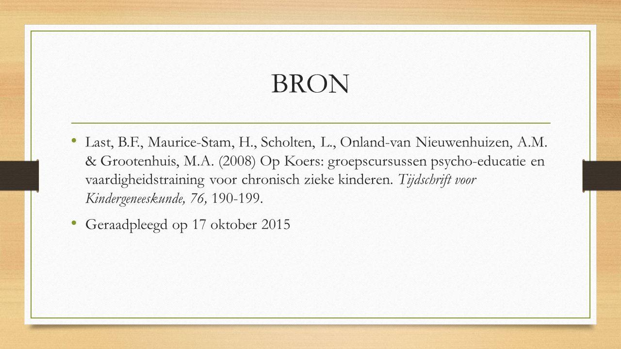 BRON Last, B.F., Maurice-Stam, H., Scholten, L., Onland-van Nieuwenhuizen, A.M.