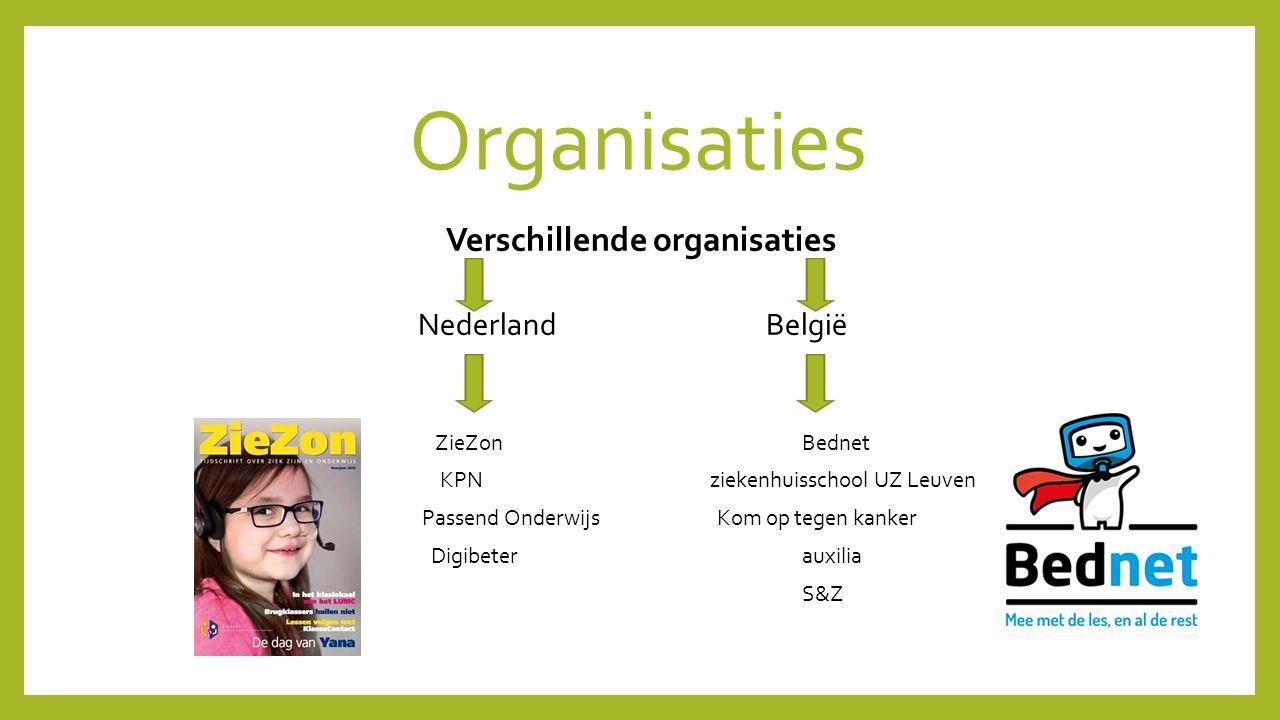 Organisaties Verschillende organisaties Nederland België ZieZon Bednet KPN ziekenhuisschool UZ Leuven Passend Onderwijs Kom op tegen kanker Digibetera