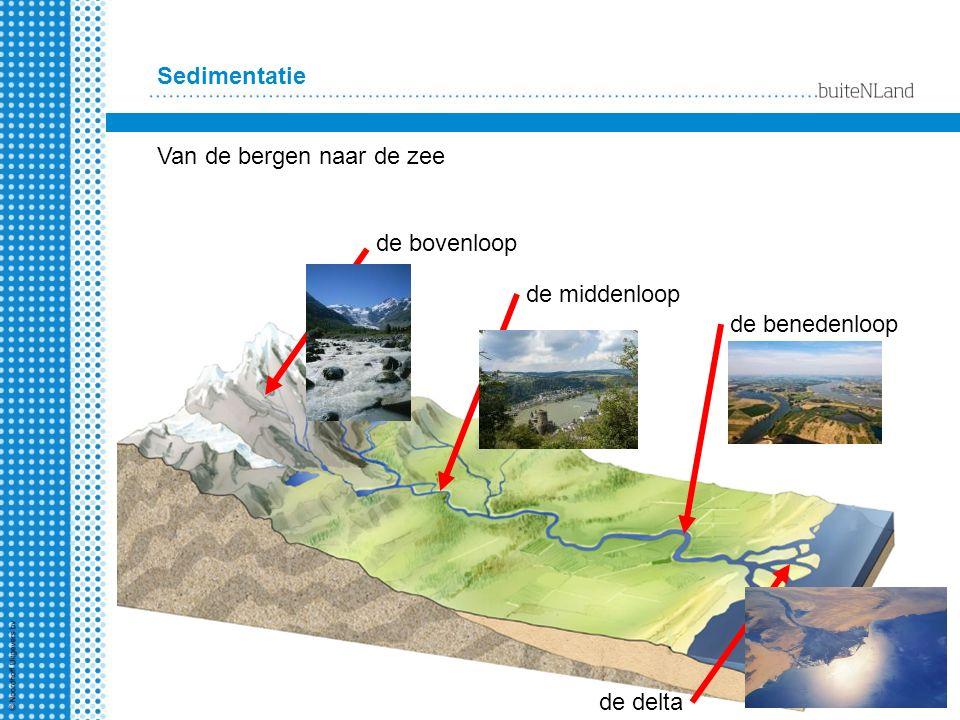 Sedimentatie Van de bergen naar de zee de bovenloop de middenloop de benedenloop de delta