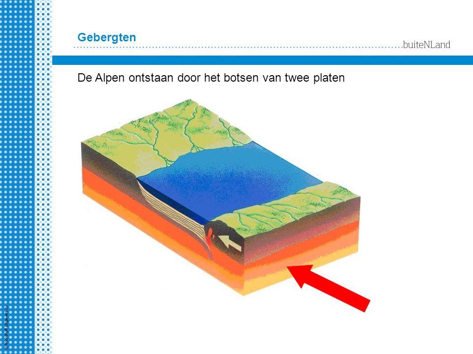 Gebergten De Alpen ontstaan door het botsen van twee platen