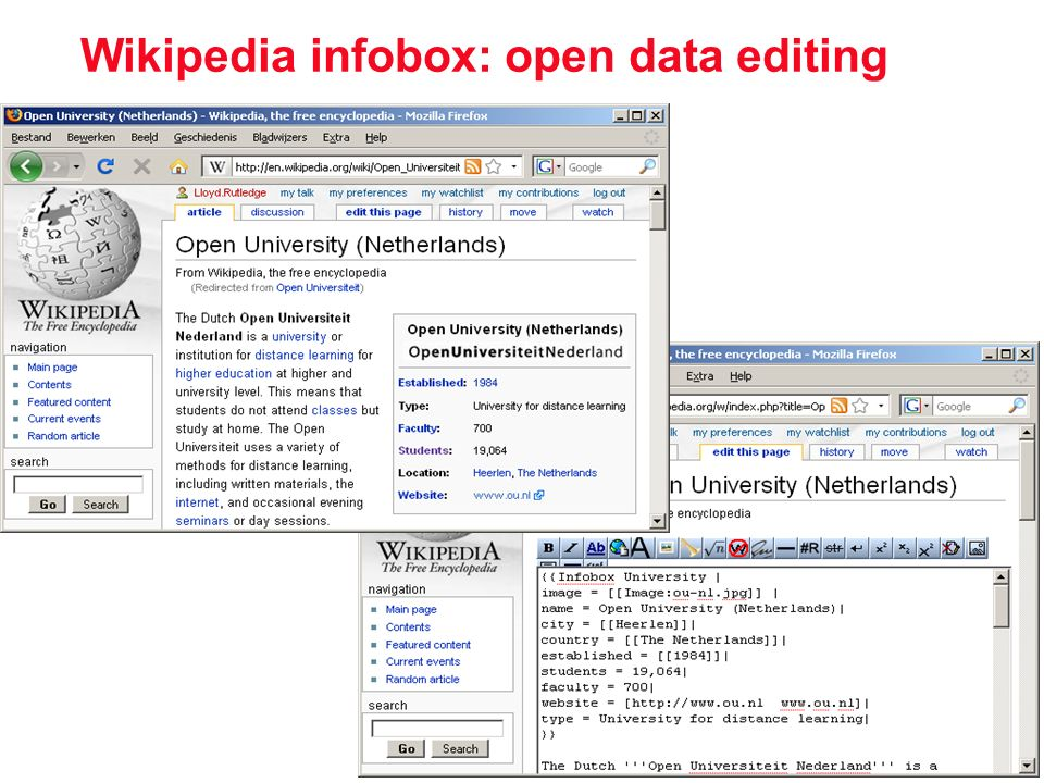 Wikipedia infobox: open data editing