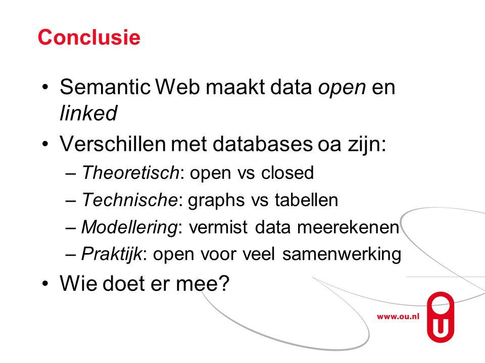 Conclusie Semantic Web maakt data open en linked Verschillen met databases oa zijn: –Theoretisch: open vs closed –Technische: graphs vs tabellen –Modellering: vermist data meerekenen –Praktijk: open voor veel samenwerking Wie doet er mee