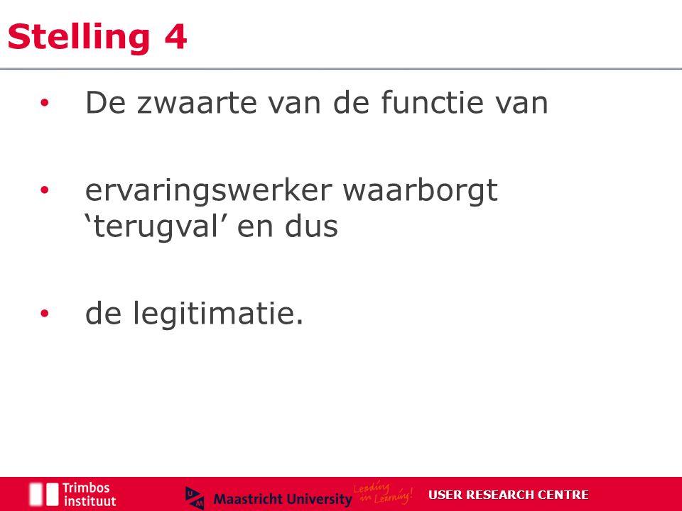 Stelling 4 De zwaarte van de functie van ervaringswerker waarborgt 'terugval' en dus de legitimatie.