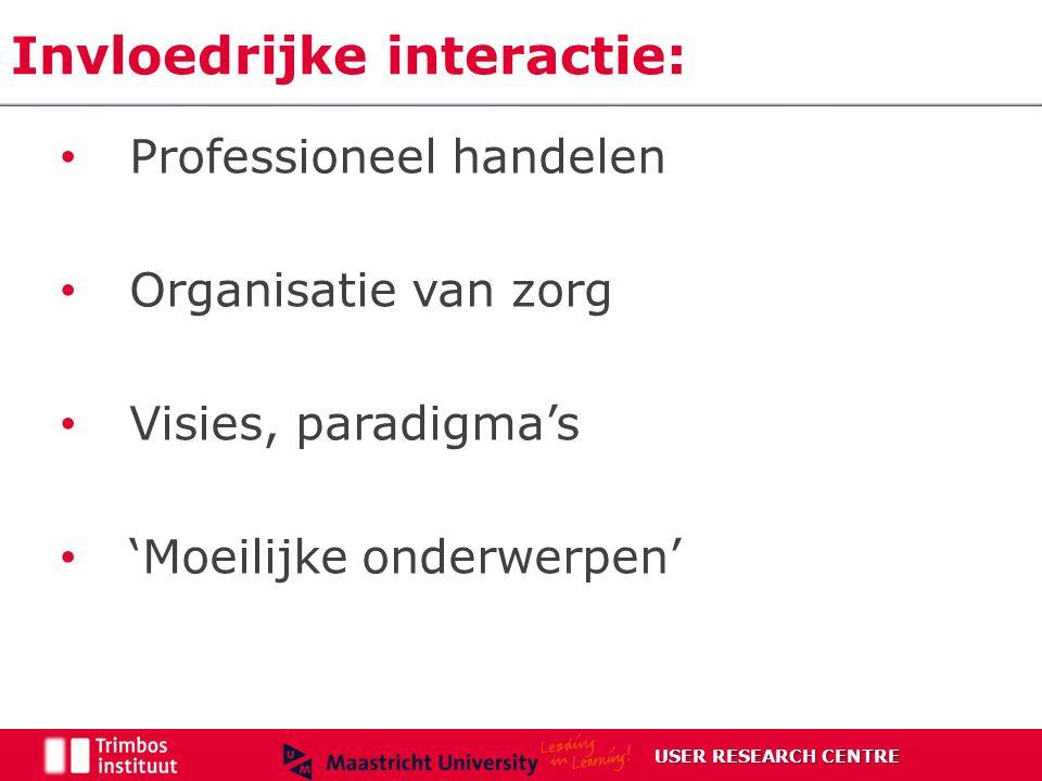 Invloedrijke interactie: Professioneel handelen Organisatie van zorg Visies, paradigma's 'Moeilijke onderwerpen' USER RESEARCH CENTRE