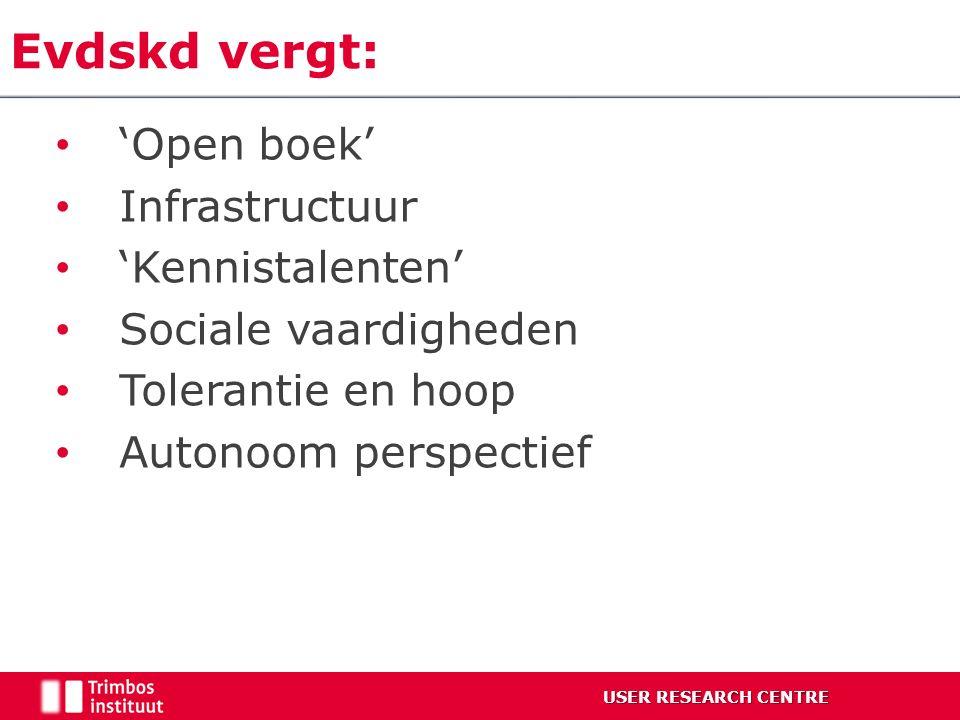 Evdskd vergt: 'Open boek' Infrastructuur 'Kennistalenten' Sociale vaardigheden Tolerantie en hoop Autonoom perspectief USER RESEARCH CENTRE