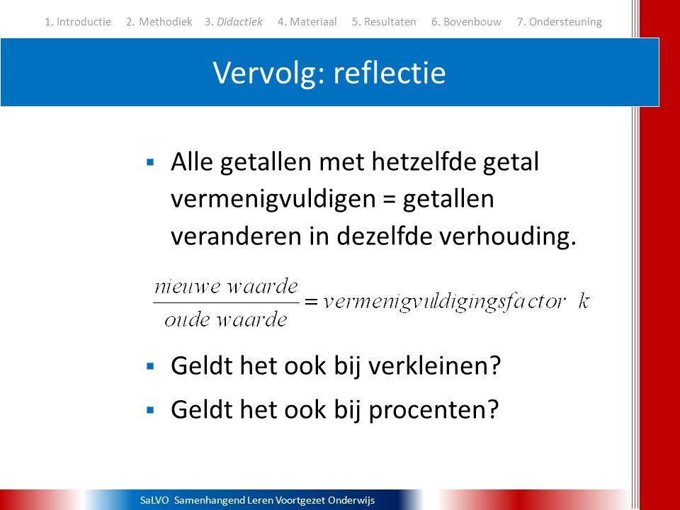 SaLVO Samenhangend Leren Voortgezet Onderwijs Vervolg: reflectie 1. Introductie 2. Methodiek3. Didactiek 4. Materiaal 5. Resultaten 6. Bovenbouw 7. On