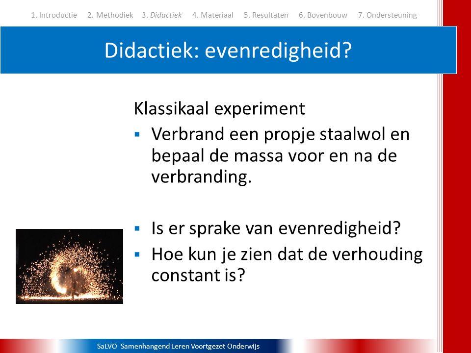 SaLVO Samenhangend Leren Voortgezet Onderwijs Didactiek: evenredigheid? 1. Introductie 2. Methodiek3. Didactiek 4. Materiaal 5. Resultaten 6. Bovenbou