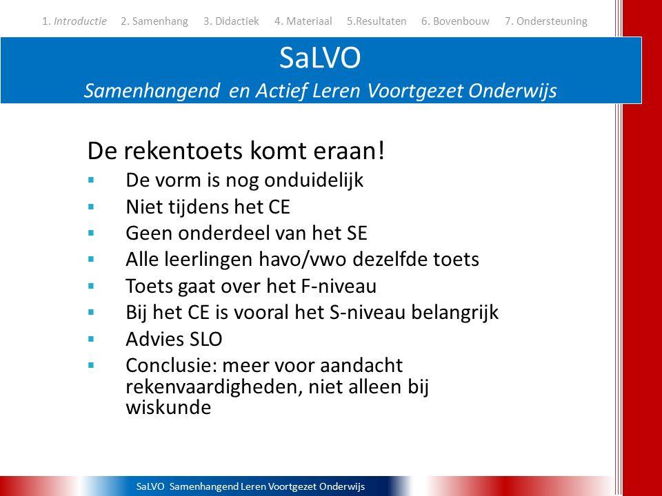 SaLVO Samenhangend Leren Voortgezet Onderwijs Delen in de bovenbouw 1.