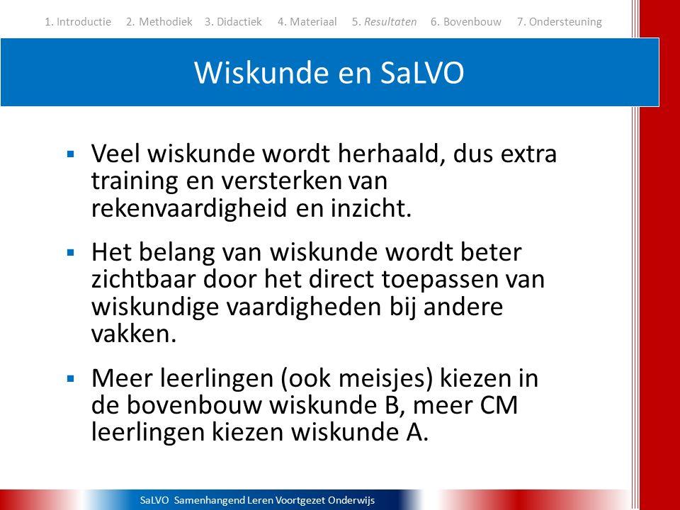 SaLVO Samenhangend Leren Voortgezet Onderwijs Wiskunde en SaLVO 1. Introductie 2. Methodiek3. Didactiek 4. Materiaal 5. Resultaten 6. Bovenbouw 7. Ond