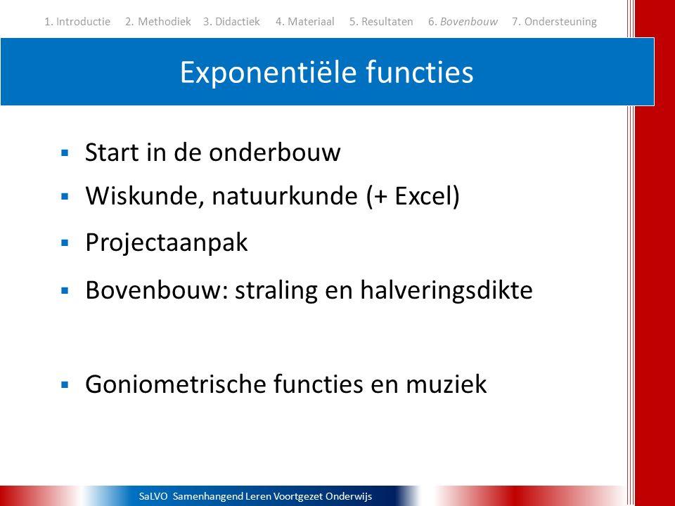 SaLVO Samenhangend Leren Voortgezet Onderwijs Exponentiële functies 1. Introductie 2. Methodiek3. Didactiek 4. Materiaal 5. Resultaten 6. Bovenbouw 7.