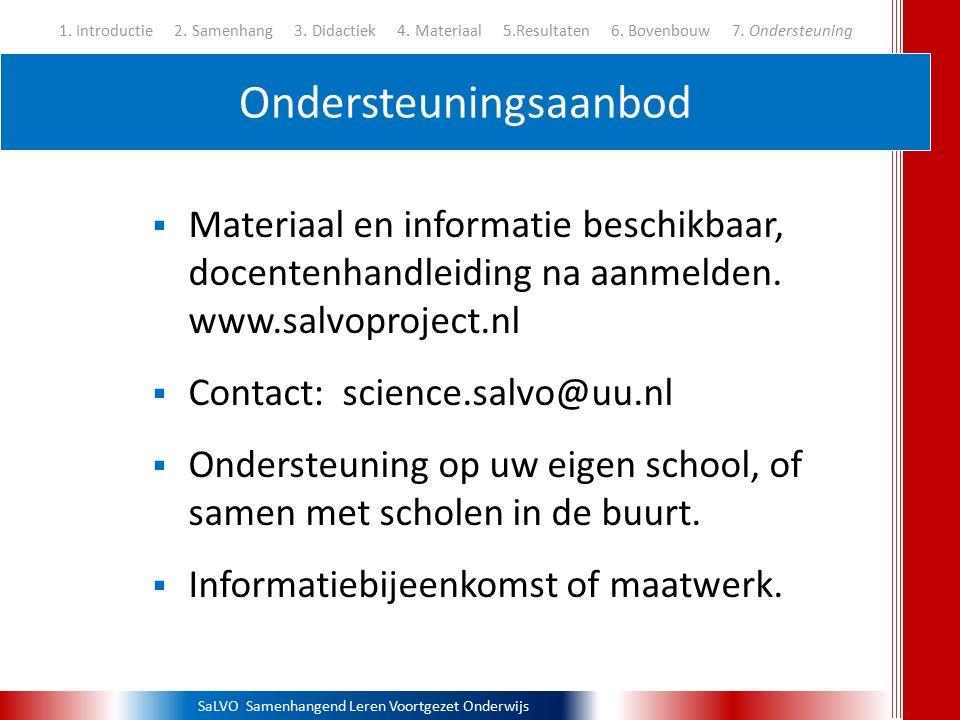 SaLVO Samenhangend Leren Voortgezet Onderwijs Ondersteuningsaanbod 1. Introductie 2. Samenhang 3. Didactiek 4. Materiaal 5.Resultaten 6. Bovenbouw 7.