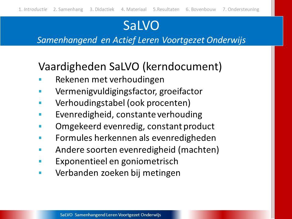 SaLVO Samenhangend Leren Voortgezet Onderwijs SaLVO Samenhangend en Actief Leren Voortgezet Onderwijs 1. Introductie 2. Samenhang 3. Didactiek 4. Mate