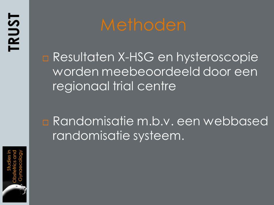  Resultaten X-HSG en hysteroscopie worden meebeoordeeld door een regionaal trial centre  Randomisatie m.b.v.