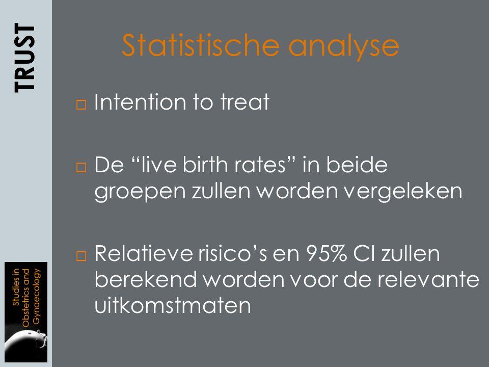 Statistische analyse  Intention to treat  De live birth rates in beide groepen zullen worden vergeleken  Relatieve risico's en 95% CI zullen berekend worden voor de relevante uitkomstmaten TRUST