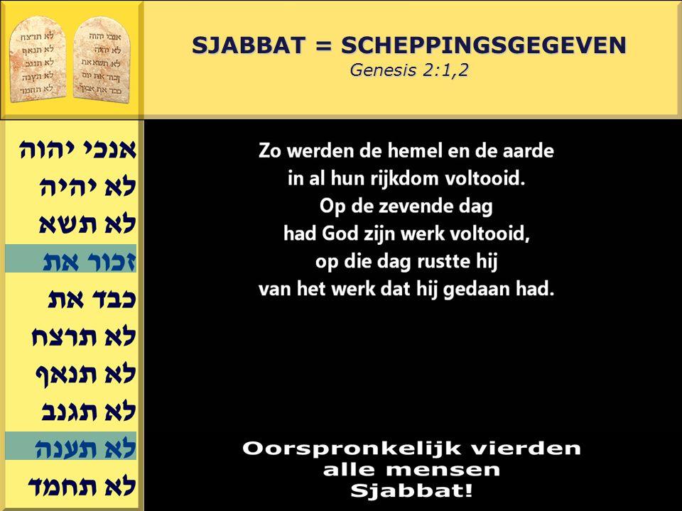 SJABBAT = SCHEPPINGSGEGEVEN Genesis 2:1,2