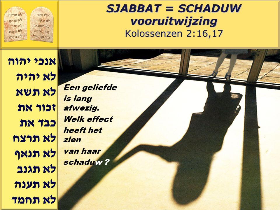 Gerard J.Wijtsma SJABBAT = SCHADUW vooruitwijzing Kolossenzen 2:16,17 Een geliefde is lang afwezig. Welk effect heeft het zien van haar schaduw ?