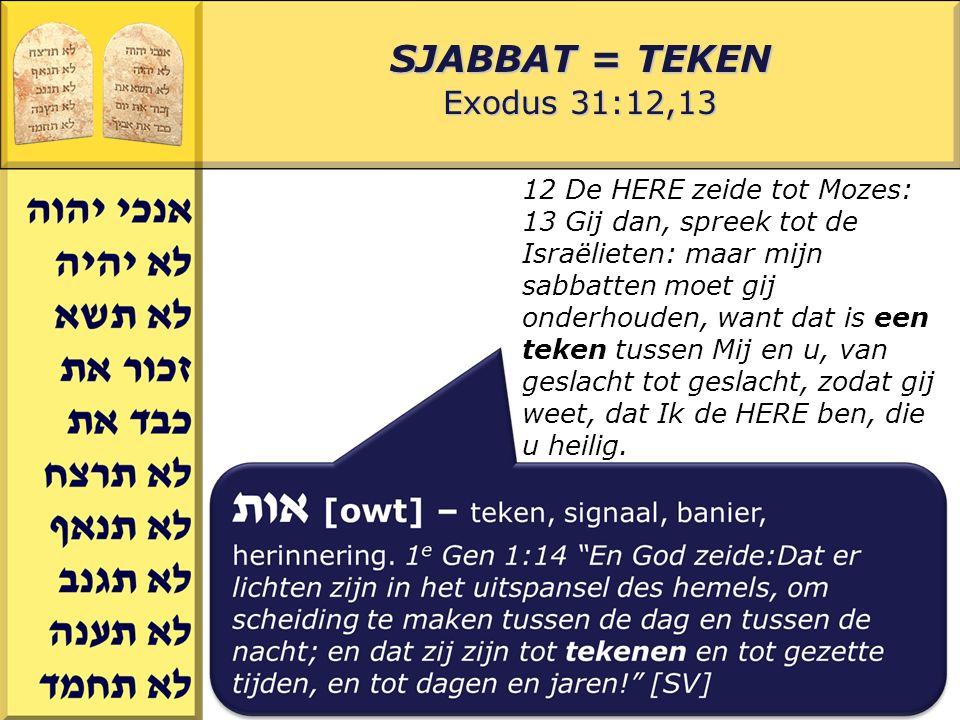Gerard J.Wijtsma SJABBAT = TEKEN Exodus 31:12,13 12 De HERE zeide tot Mozes: 13 Gij dan, spreek tot de Israëlieten: maar mijn sabbatten moet gij onderhouden, want dat is een teken tussen Mij en u, van geslacht tot geslacht, zodat gij weet, dat Ik de HERE ben, die u heilig.