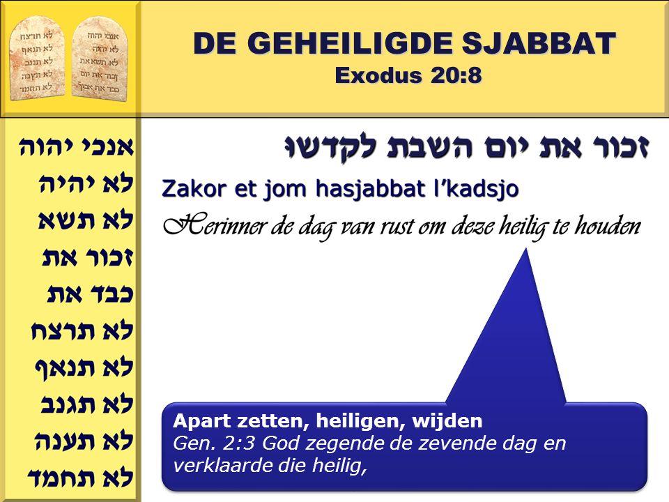 Gerard J.Wijtsma DE GEHEILIGDE SJABBAT Exodus 20:8 Apart zetten, heiligen, wijden Gen. 2:3 God zegende de zevende dag en verklaarde die heilig, Apart