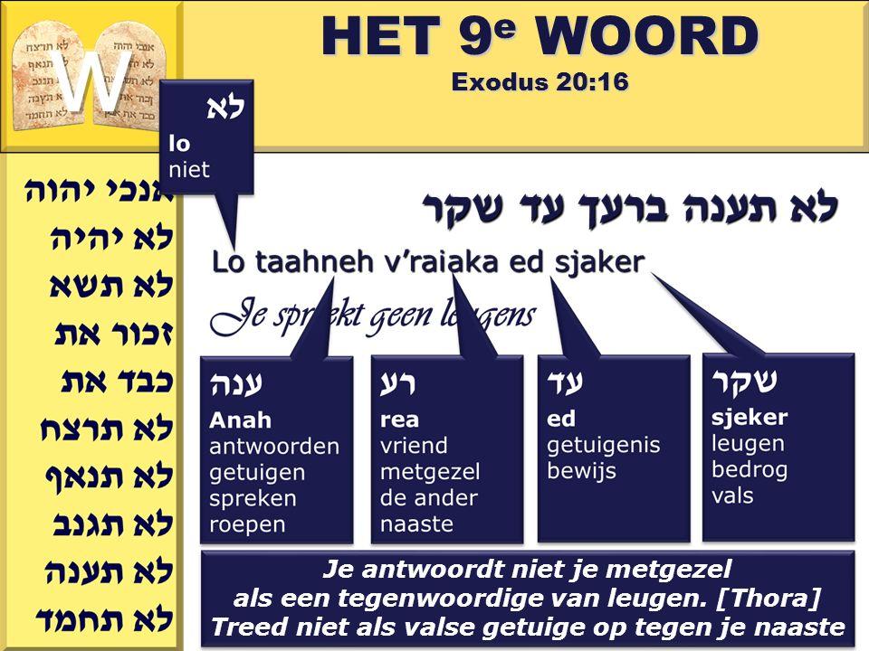Gerard J.Wijtsma HET 9 e WOORD Exodus 20:16 Je antwoordt niet je metgezel als een tegenwoordige van leugen. [Thora] Treed niet als valse getuige op te