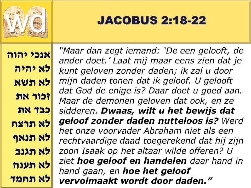 Gerard J.Wijtsma JACOBUS 2:18-22 Maar dan zegt iemand: 'De een gelooft, de ander doet.' Laat mij maar eens zien dat je kunt geloven zonder daden; ik zal u door mijn daden tonen dat ik geloof.