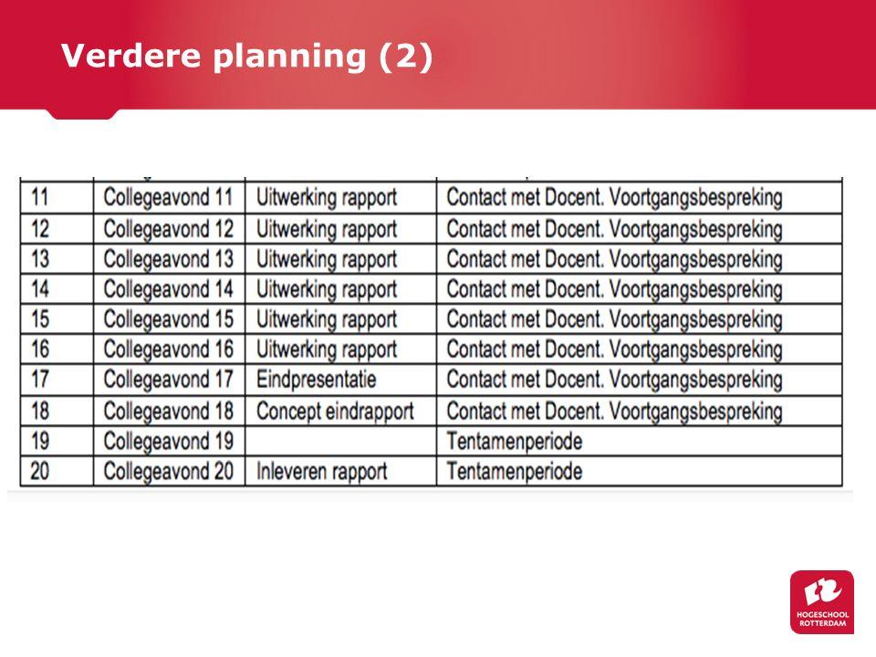 Verdere planning (2)
