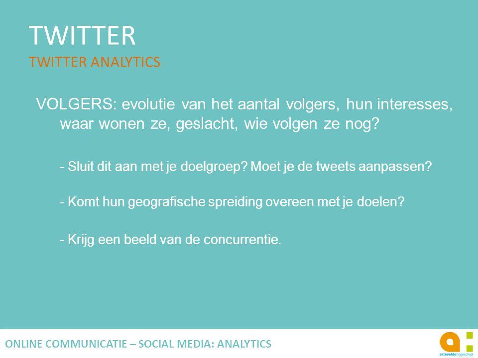 TWITTER TWITTER ANALYTICS 118 ONLINE COMMUNICATIE – SOCIAL MEDIA: ANALYTICS VOLGERS: evolutie van het aantal volgers, hun interesses, waar wonen ze, g