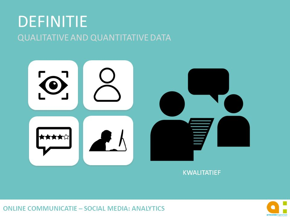 DEFINITIE QUALITATIVE AND QUANTITATIVE DATA 12 ONLINE COMMUNICATIE – SOCIAL MEDIA: ANALYTICS KWALITATIEF