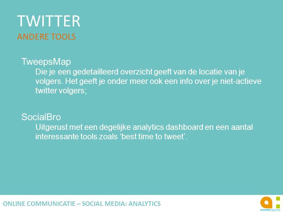 TWITTER ANDERE TOOLS 122 ONLINE COMMUNICATIE – SOCIAL MEDIA: ANALYTICS TweepsMap Die je een gedetailleerd overzicht geeft van de locatie van je volger