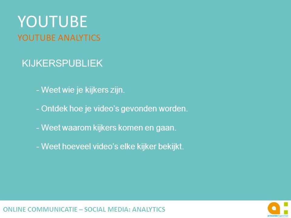 YOUTUBE YOUTUBE ANALYTICS 124 ONLINE COMMUNICATIE – SOCIAL MEDIA: ANALYTICS KIJKERSPUBLIEK - Weet wie je kijkers zijn. - Ontdek hoe je video's gevonde