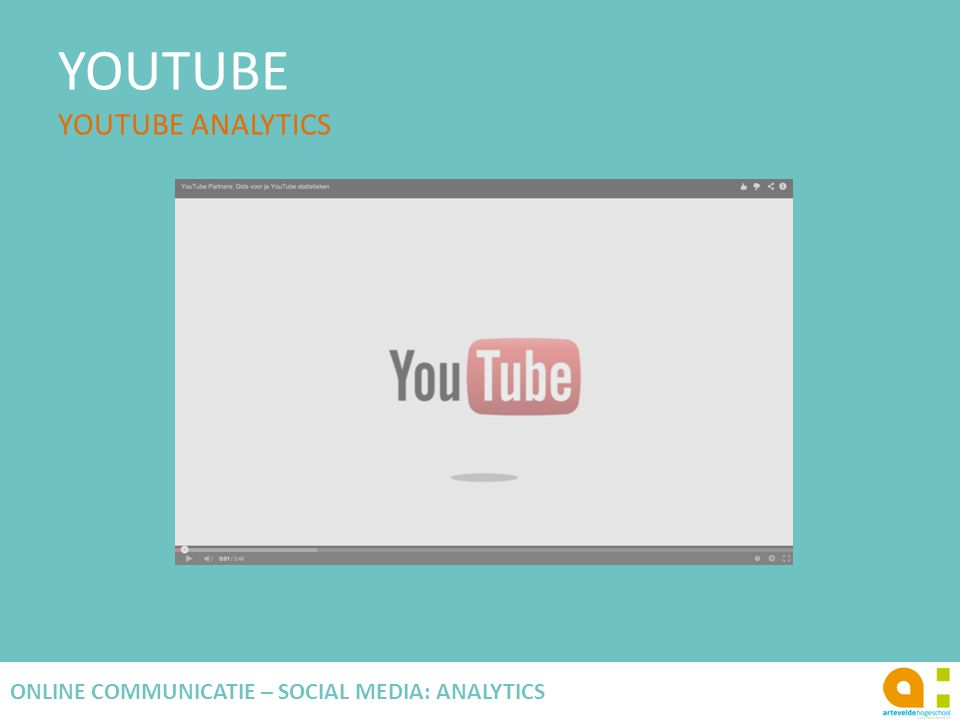 YOUTUBE YOUTUBE ANALYTICS 126 ONLINE COMMUNICATIE – SOCIAL MEDIA: ANALYTICS