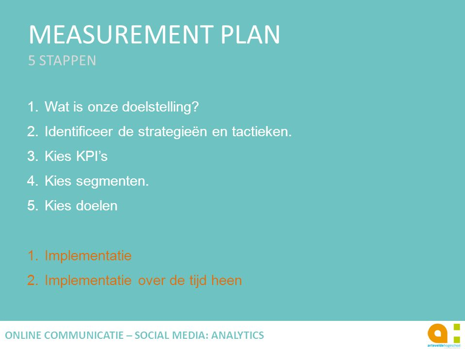 MEASUREMENT PLAN 5 STAPPEN 33 ONLINE COMMUNICATIE – SOCIAL MEDIA: ANALYTICS 1.Wat is onze doelstelling.