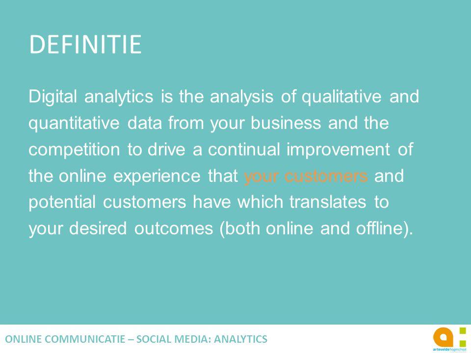 ANALYSE TECHNIEKEN SEGMENTATIE Datum en tijd Devices Marketingkanalen Geografisch Karakteristieken van consumenten … 26 ONLINE COMMUNICATIE – SOCIAL MEDIA: ANALYTICS