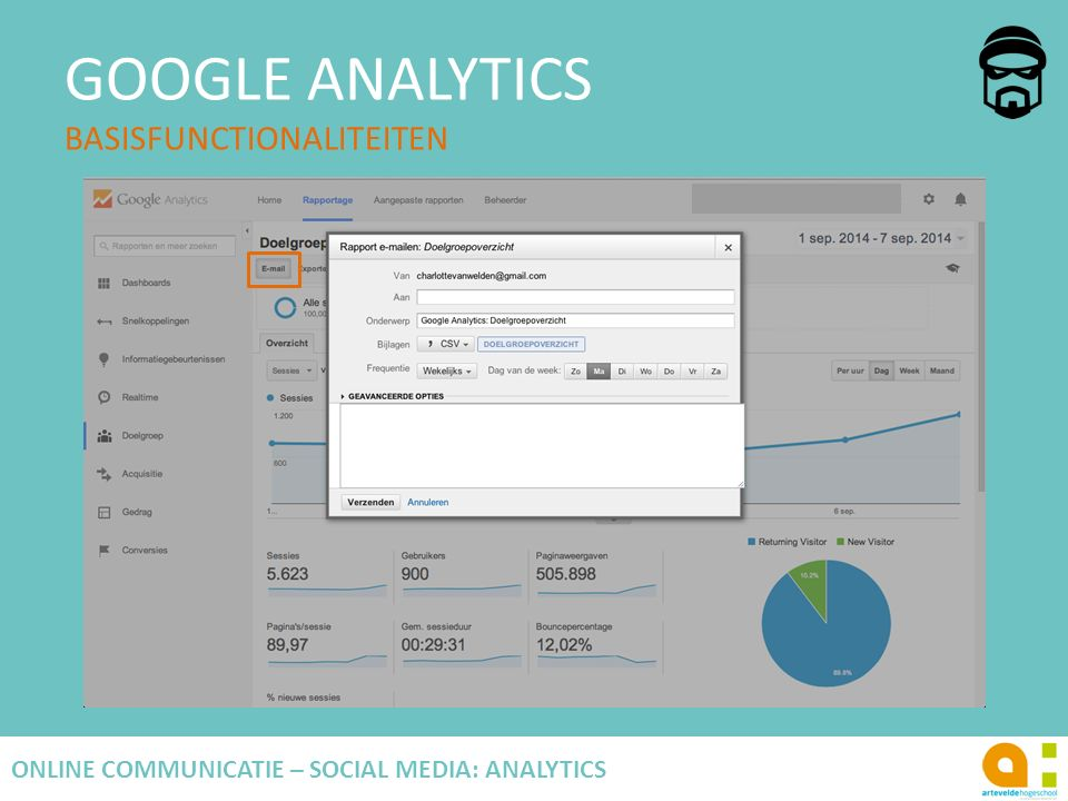 GOOGLE ANALYTICS BASISFUNCTIONALITEITEN 61 ONLINE COMMUNICATIE – SOCIAL MEDIA: ANALYTICS