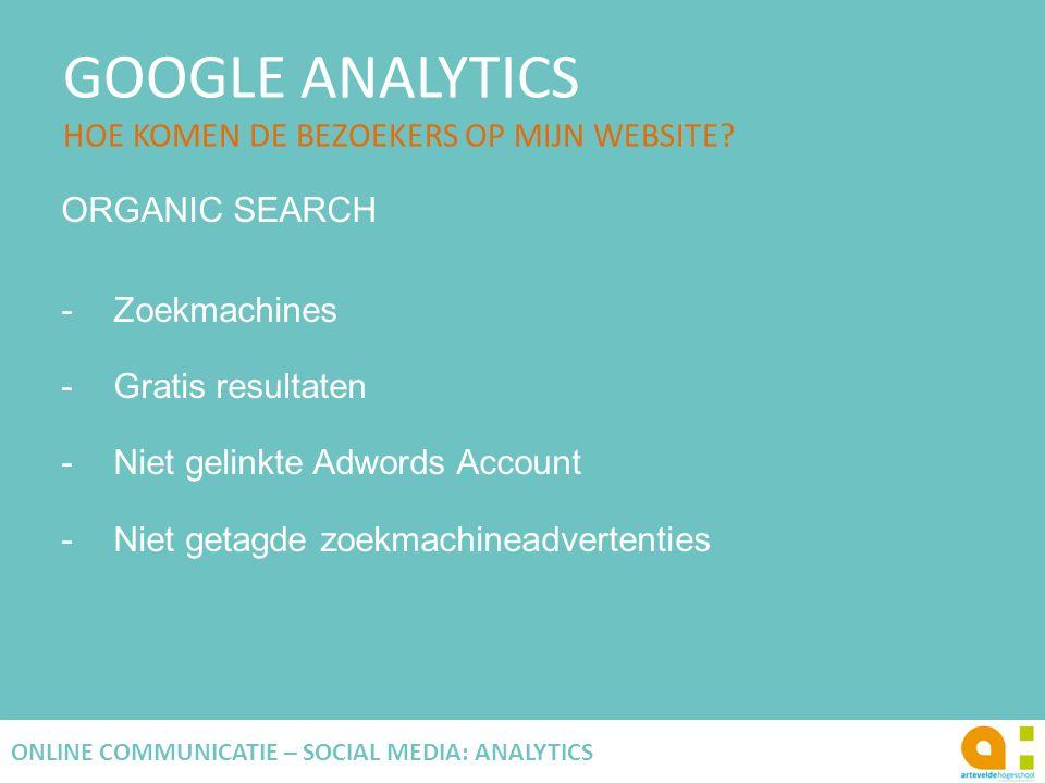 GOOGLE ANALYTICS HOE KOMEN DE BEZOEKERS OP MIJN WEBSITE? 76 ONLINE COMMUNICATIE – SOCIAL MEDIA: ANALYTICS ORGANIC SEARCH -Zoekmachines -Gratis resulta