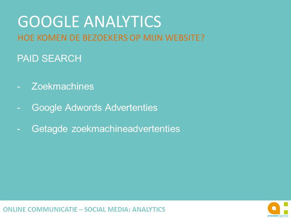 GOOGLE ANALYTICS HOE KOMEN DE BEZOEKERS OP MIJN WEBSITE? 77 ONLINE COMMUNICATIE – SOCIAL MEDIA: ANALYTICS PAID SEARCH -Zoekmachines -Google Adwords Ad