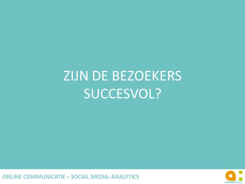 ZIJN DE BEZOEKERS SUCCESVOL? 87 ONLINE COMMUNICATIE – SOCIAL MEDIA: ANALYTICS