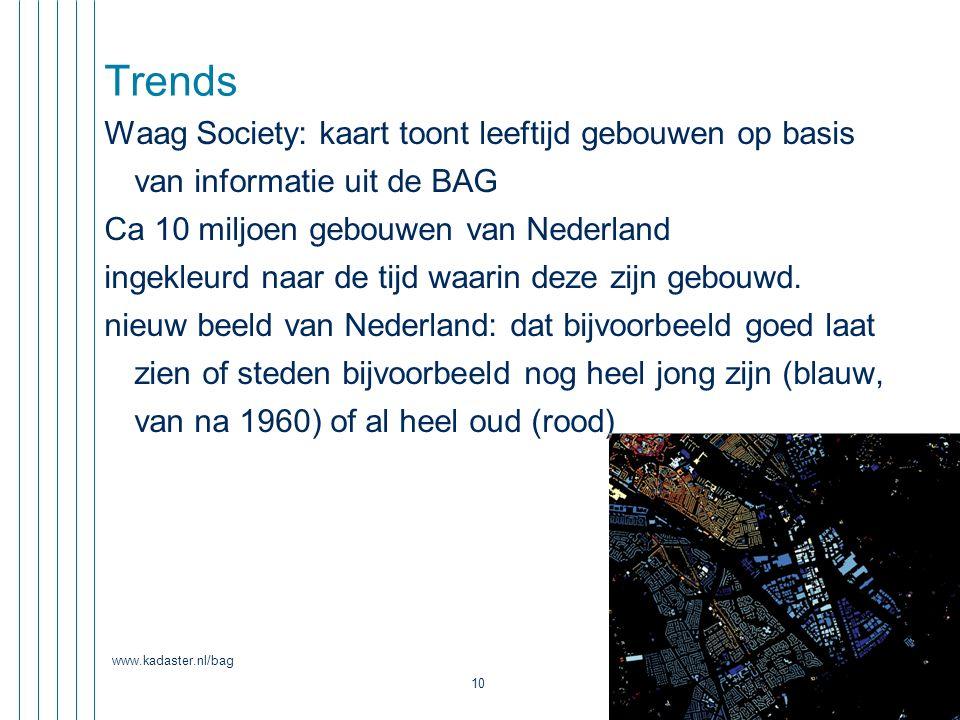 www.kadaster.nl/bag 10 Trends Waag Society: kaart toont leeftijd gebouwen op basis van informatie uit de BAG Ca 10 miljoen gebouwen van Nederland inge