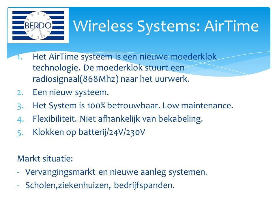 1.Het AirTime systeem is een nieuwe moederklok technologie. De moederklok stuurt een radiosignaal(868Mhz) naar het uurwerk. 2.Een nieuw systeem. 3.Het