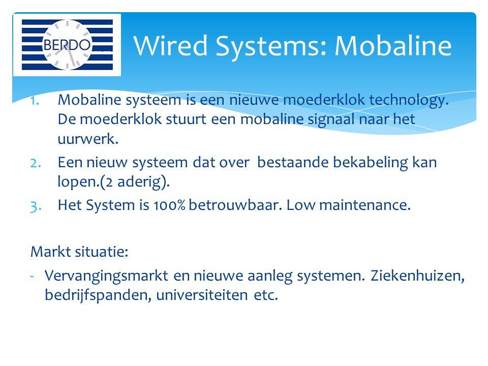 1.Mobaline systeem is een nieuwe moederklok technology. De moederklok stuurt een mobaline signaal naar het uurwerk. 2.Een nieuw systeem dat over besta