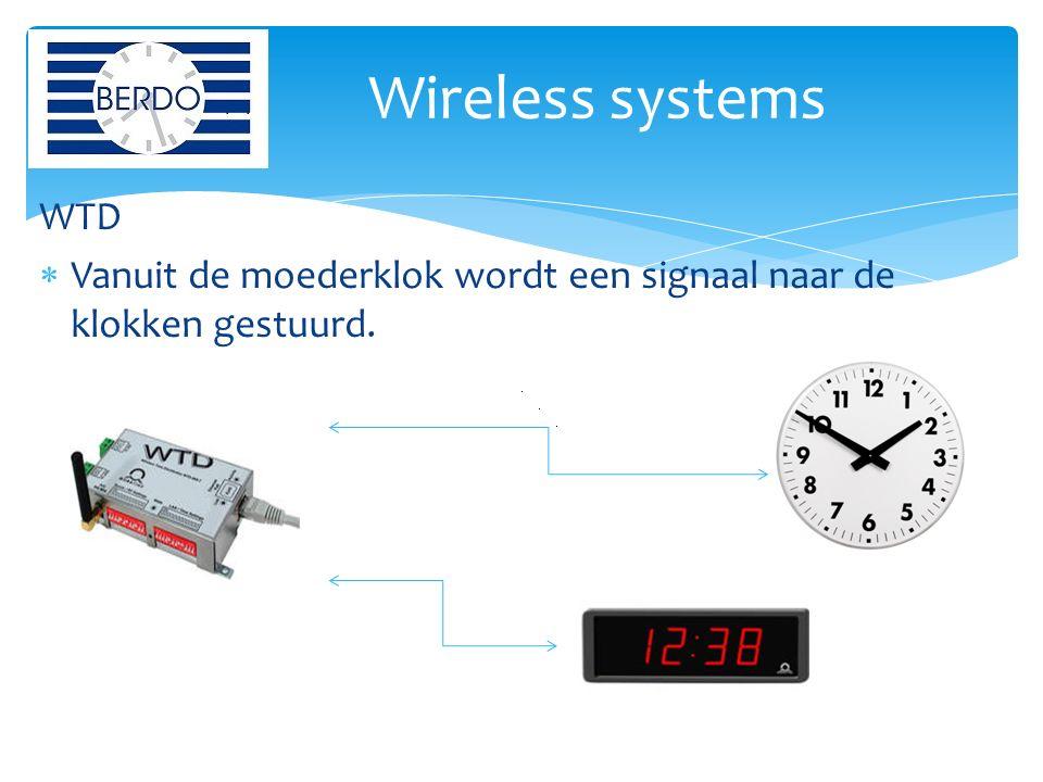 WTD  Vanuit de moederklok wordt een signaal naar de klokken gestuurd. Wireless systems