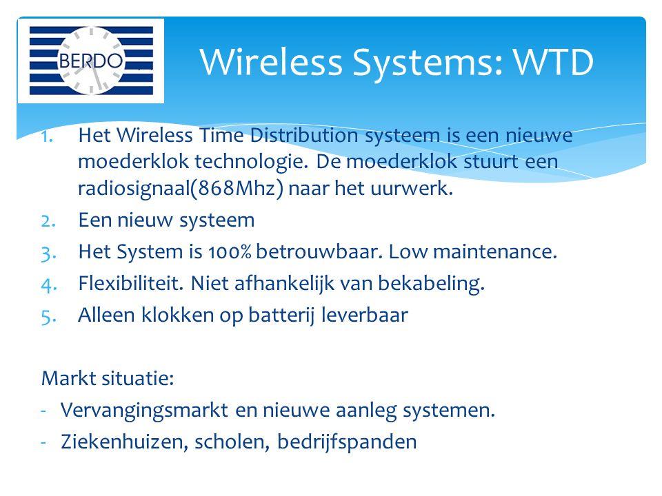 1.Het Wireless Time Distribution systeem is een nieuwe moederklok technologie. De moederklok stuurt een radiosignaal(868Mhz) naar het uurwerk. 2.Een n