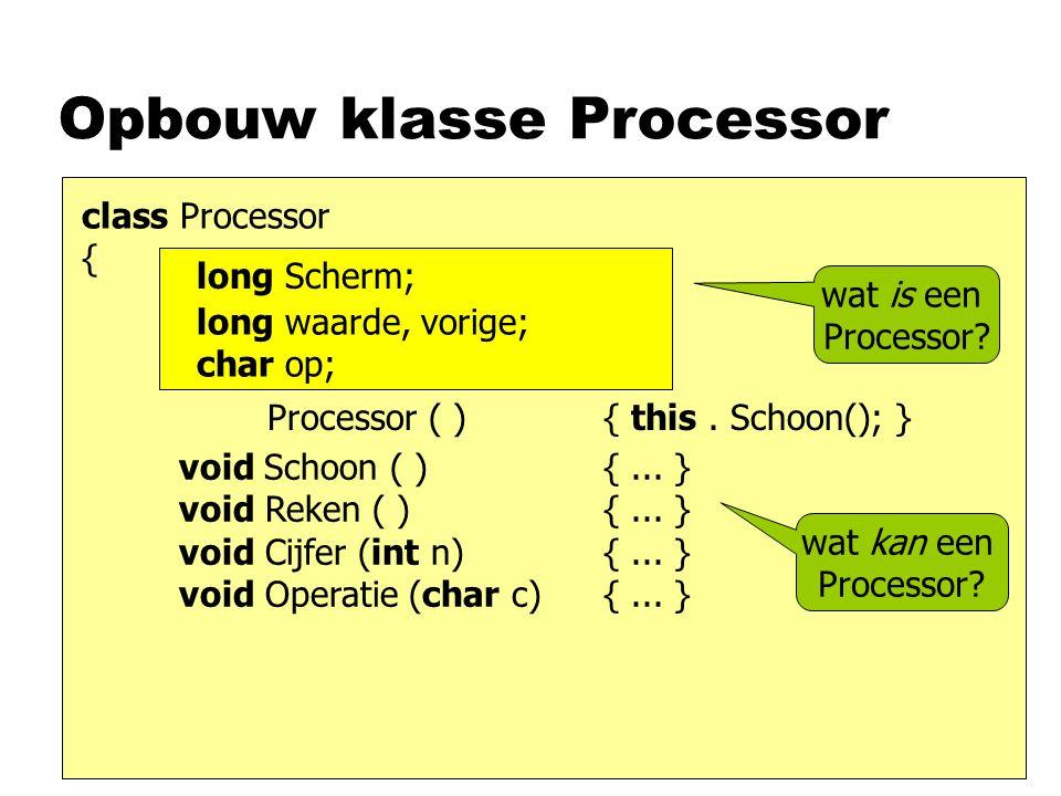 Opbouw klasse Processor class Processor { void Schoon ( ) {...