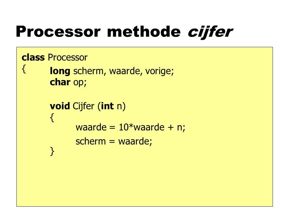 Processor methode cijfer class Processor { void Cijfer (int n) { } long scherm, waarde, vorige; char op; waarde = 10*waarde + n; scherm = waarde;