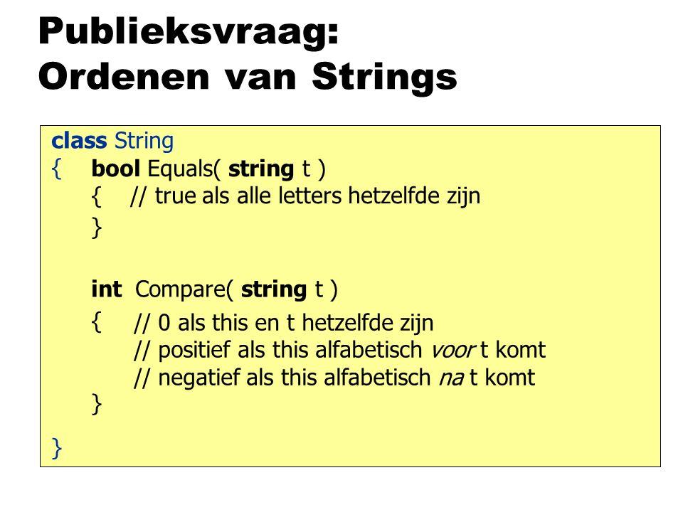 Publieksvraag: Ordenen van Strings bool Equals( string t ) { // true als alle letters hetzelfde zijn } class String { } { } int Compare( string t ) // 0 als this en t hetzelfde zijn // positief als this alfabetisch voor t komt // negatief als this alfabetisch na t komt